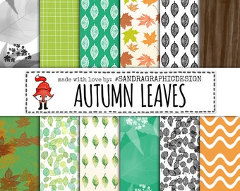 "Fall digital paper: ""AUTUMN LEAVES"", fall patterns, green digital papers, nature backgrounds (1047)"
