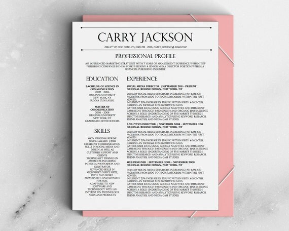 carry jackson modern 2 page fancy resume by
