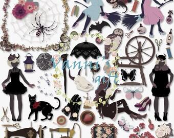 137 Witch Witchcraft Halloween Digital Download Scrapbooking Clip Art b32