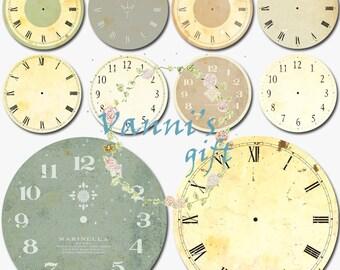 10 Vintage Clock Watch Dial Digital Download Scrapbooking Clip Art c84