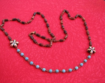 3314 - Necklace Turquoise, Wood