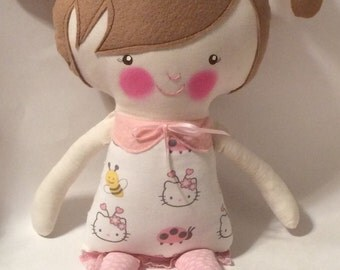 "Handmade Girl Cloth Doll 18.5"" Yasmine Plush Softie Rag Doll With White Dress Light Brown Wool Felt Hair"