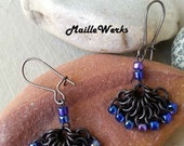 Peacock Fan Minimalist Chainmaille Earrings, Chain Mail Earrings, Peacock Fan, Chain Mail Jewelry Earrings, Maillewerks by Hanan Hall