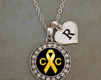 Custom Initial Childhood Cancer Awareness Necklace