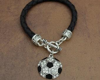 Soccer Leather Toggle Bracelet