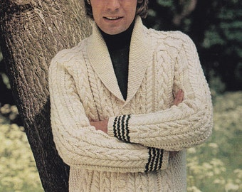 Men's aran cable cardigan sizes 36 to 42 inch vintage knitting pattern pdf INSTANT download jumper pattern only
