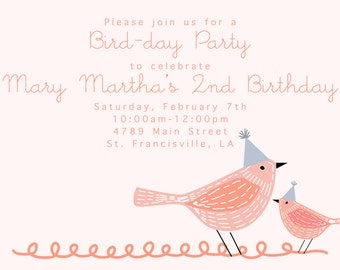Bird Birthday Postcard Invitations pink blue birdhouse party hats-FREE SHIPPING or DIY printable