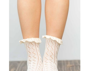 Ankle Lace Socks / Cream / Boot Socks / Heel Socks / Spring Socks / Summer Socks