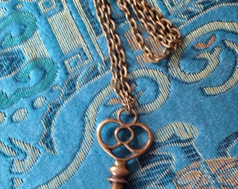 Reproduction Antique Bronze Key Necklace on Long Chain