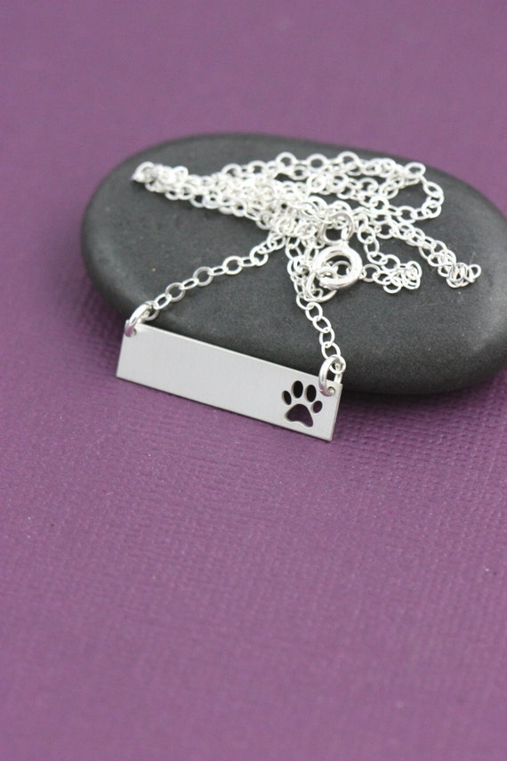 personalized paw necklace engraved name by ivybydesign