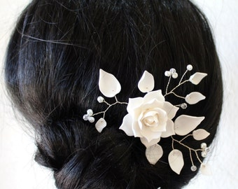 White Magnolia, Flower Hair Clips. Flower Accessories, Magnolia Wedding Hair Accessories, Wedding Hair Flower Hair, Bridal Flower Hair Pin