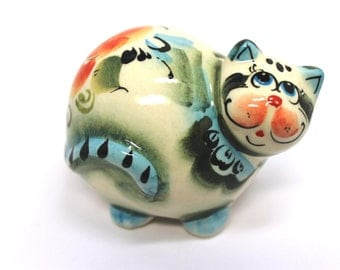 Potbelly Cat Figurine, Porcelain Fat Cat, Funny Cat sculptures, Ready to Ship, OOAK, Ceramic Handmade Statue, Smiling Cat Miniature
