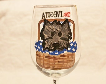 Toto, We're not in Kansas anymore - Hand painted wine glass