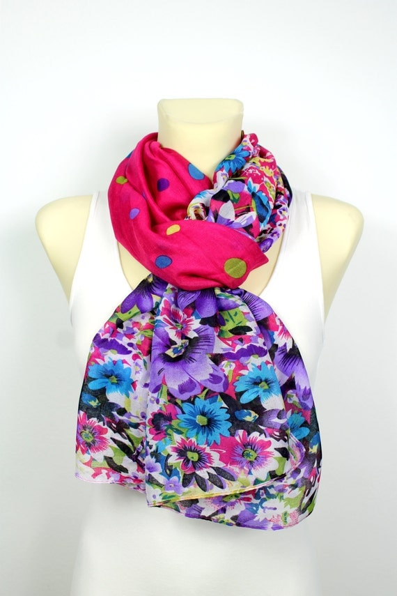 Pink Floral Scarf - Women Fashion Accessories - Unique Fabric Scarf - Printed Scarf - Boho Scarf - Gift Ideas For Her - Autumn Trends