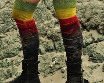 Irie,Socks,leg warmers,Rasta,Reggae,Thigh high.Elven,tye dye,Clothing,Festival,Dance,HoolaHooping,Fire dancing,