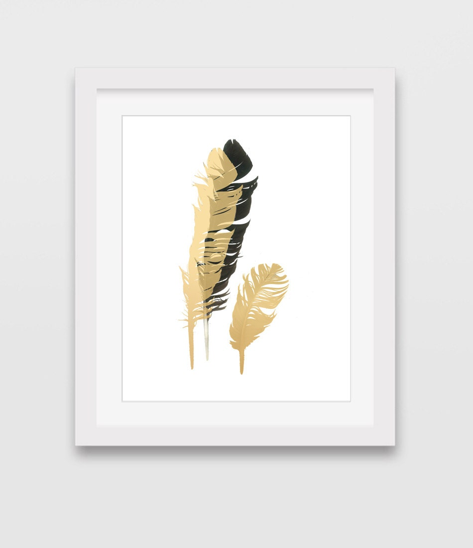 gold feather print yellow feather wall art black feathers