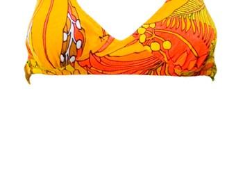 1960s Medium Bikini Two Piece Neon Black Light Rave Orange Floral Hawaiian Tropical Tiki Psychedelic Retro Mod
