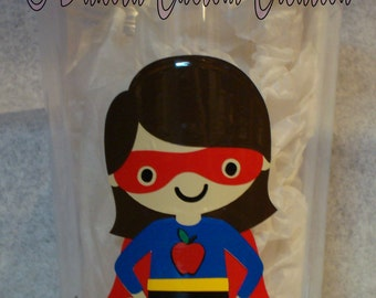 Custom Insulated Tumbler with Cover & Straw - I'm a teacher.  What's your super power?