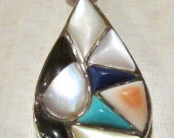 Sterling Silver Teardrop Multistone Inlay Pendant