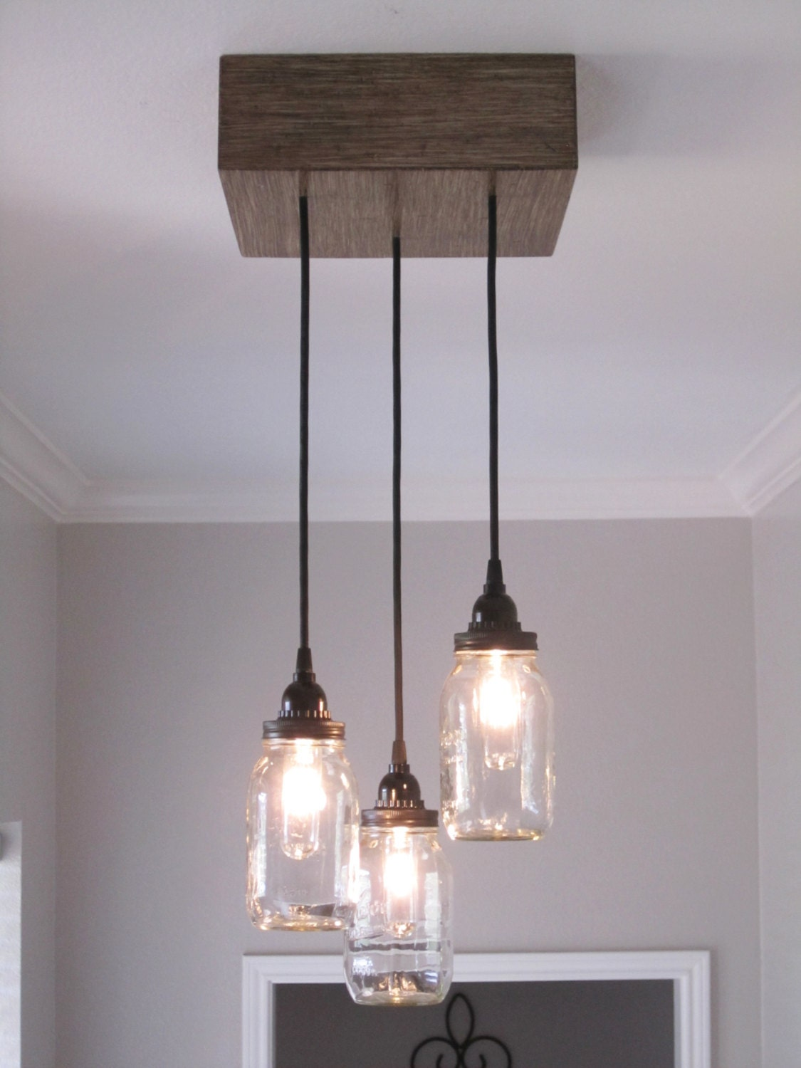 Rustic Mason Jar Chandelier Lighting Ceiling Light Rustic