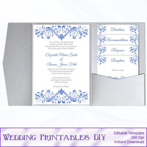 Pocket Fold Wedding Invitation Template Set Diy Royal Blue