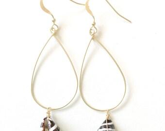PUNA earrings - 14k gold fill pyrene shell shell earrings, beach jewelry, ocean jewelry, resort jewelry, komakai jewelry, dainty jewelry