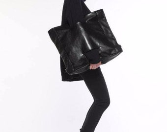 Black  backpack - purse- black faux leather bag- black purse- with handles - as clutch - as backpack - 2in1
