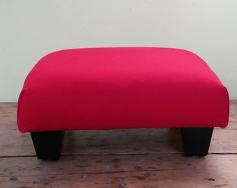 Upholstered Footstool - Red Cotton