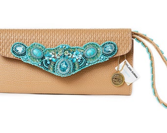Wallet with strap Embroidered Floral Colourful Ladies Faux leather Tan Light brown Wristlet Button Unique Blue Gift for bestfriend