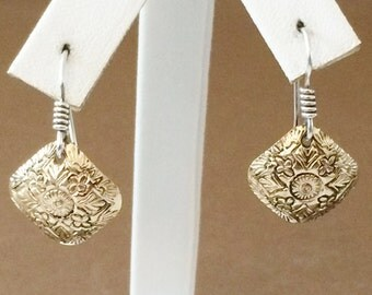 Sterling Silver And Textured Brass Earrings