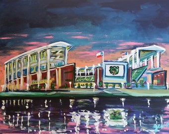 McLane Stadium on the Brazos River - Baylor University, Waco Texas - Print from Acrylic Painting by Genie Mack