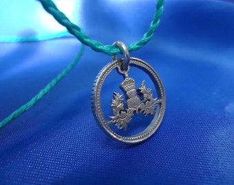 "Cut Coin Pendant by ""The Cons Shop"",Origin-United Kingdom,Design-Crowned Thistle,Handmade,Coin Pendant,Necklace,Gift Idea,5 Pence,UK"