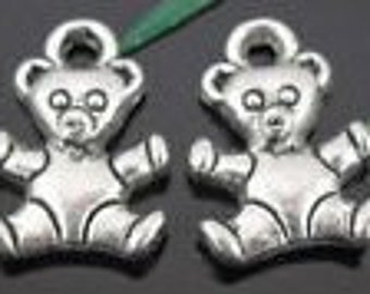 Silver teddy bear charms 10 charms lead free and nickel free