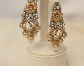Vintage Bridal Signed Miriam Haskell Statement Earrings - Gold, Filigree, Rhinestones, tassel baroque pearls