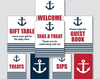 Printable Nautical Baby Shower Table Signs - EIGHT Signs! - Instant Download - Red and Navy Nautical Baby Shower Decorations - 0029-R