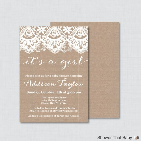 baby shower invitation printable or printed burlap lace baby shower