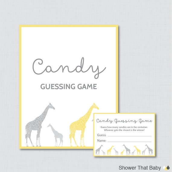 Candy Baby Shower Game: Giraffe Baby Shower Candy Guessing Game Printable Guess How