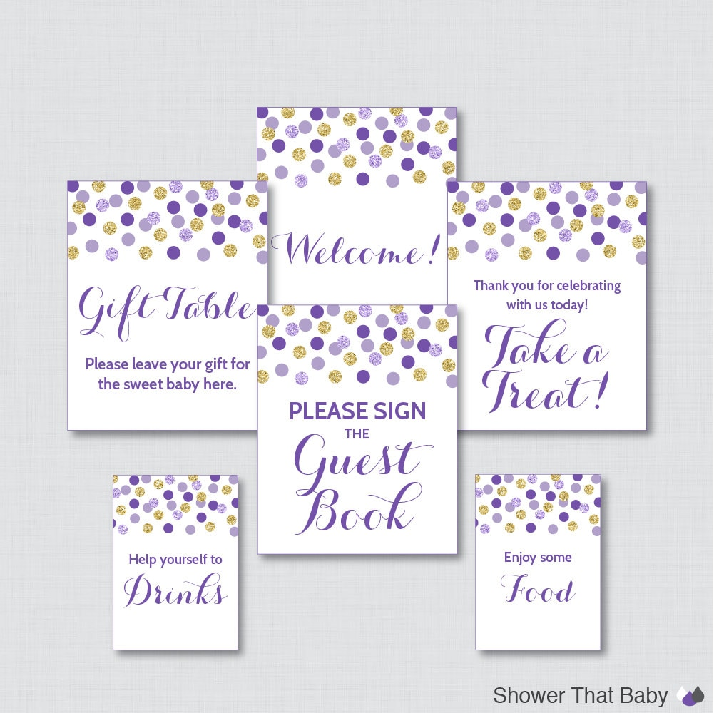 printable purple baby shower table signs six signs welcome