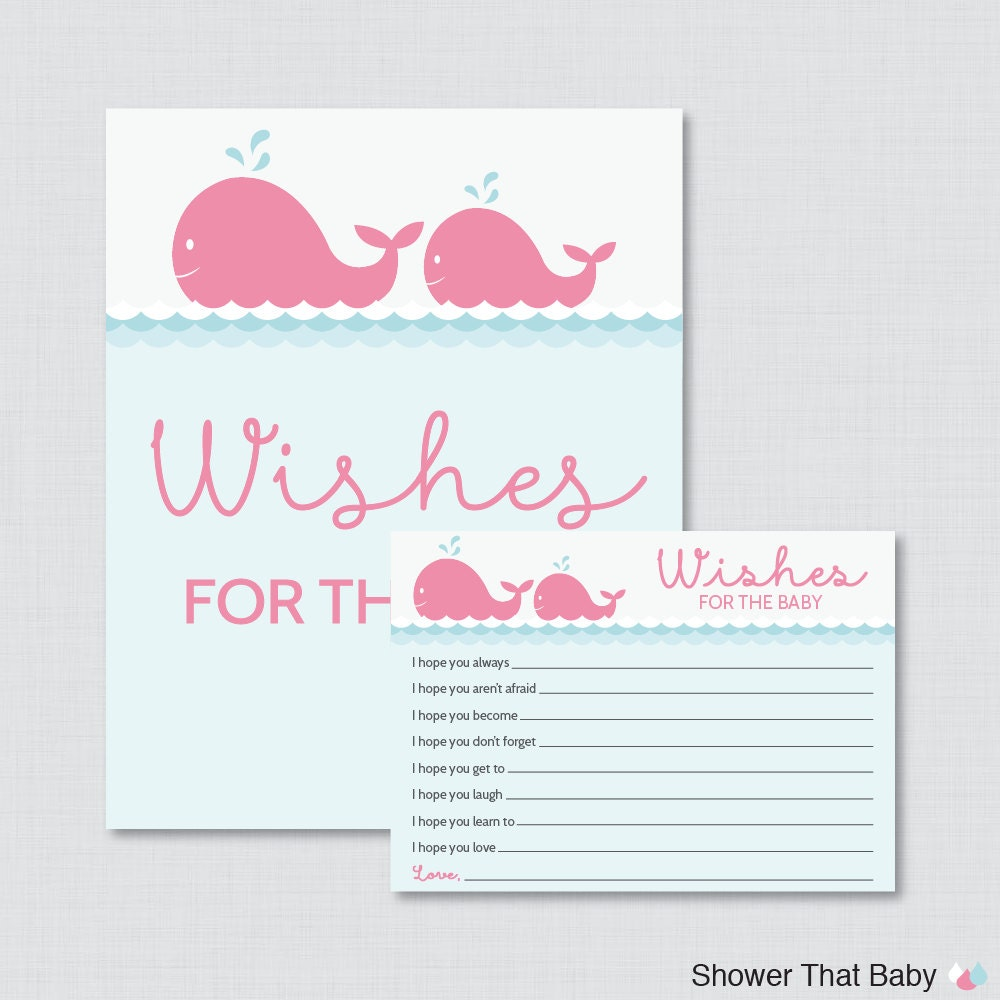 Whale Baby Shower Wishes For Baby Activity Printable Well