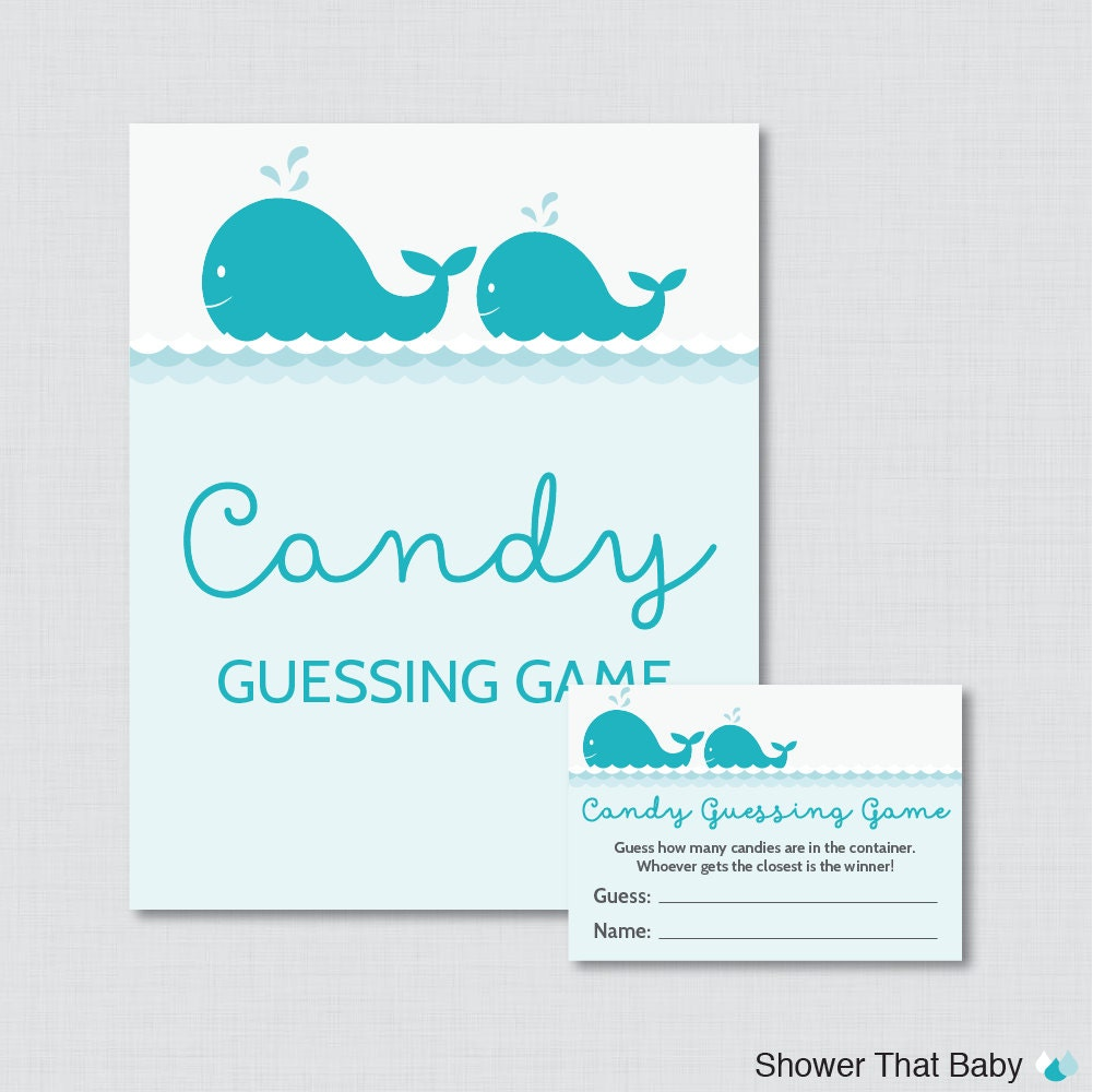 whale baby shower candy guessing game printable guess how