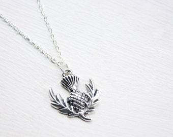Scottish Thistle Necklace- Thistle Charm - Scotland Necklace - Silver Thistle Pendant