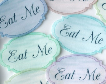 EAT ME Edible Alice in Wonderland Pastel Labels x16 M Wafer Rice Paper Wedding Cake Decorations Mad Hatter Tea Party Cupcake Toppers Cookies