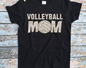 Volleyball Mom Shirt - Womens Custom Volleyball Shirt / Volleyball Mom Tshirt / Girls Sports Outfit / Mother of Teen Clothes / Black Shirt