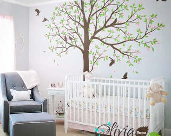 Large Tree wall decal tree wall decals wall decor wall mural nursery  wall decoration with cute birds- NT048