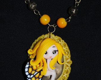 Polymer clay yellow fairy butterfly