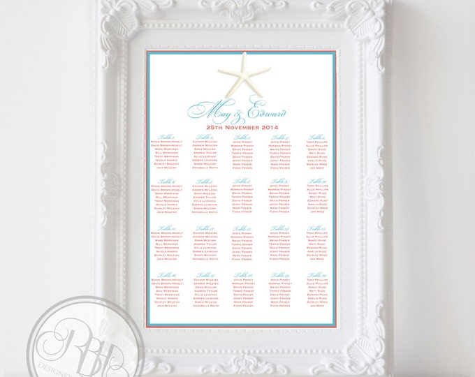 """Beachside Wedding Seating Chart - Beach-Starfish Coral & Turquoise - Digital Files Provided DIY Printable """"Natahlia in Coral Seating Chart"""""""