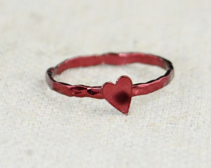 Tiny Red Heart Ring, Sterling Silver, Valentines Ring, Personalized Ring, Red Ring, Valentine's Ring, Valentines Gift, BFF Ring, Bloody