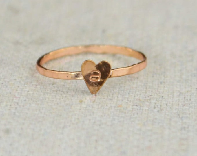 Tiny Golden Rose Heart Ring, Sterling Silver, Golden Rose Ring, Personalized Heart Ring, Initial Heart Ring, Initial Ring, BFF Ring, Copper