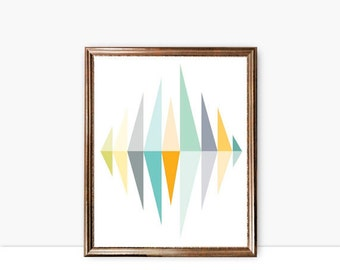 geometric printable wall art mid century print instant download, large abstract art poster pdf jpg mustard yellow gray green triangles print