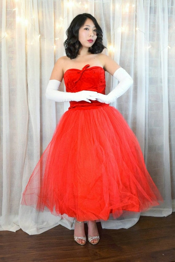 vintage 1950s prom dress / 50s pink tulle by simplicityisbliss ...